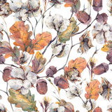 Watercolor  seamless pattern with oak leaves and acorns Stock Image