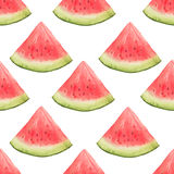 Watercolor Seamless Pattern Of Watermelon Slices. Stock Photo