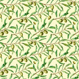 Watercolor seamless pattern with olive branches. Hand painted floral ornament with olive berry and tree branches with. Leaves. For design, print and fabric royalty free illustration