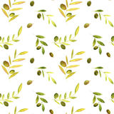 Watercolor seamless pattern with olives, leaves and branches Royalty Free Stock Photography