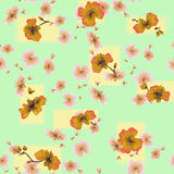 Watercolor seamless pattern orange flowers on a green-yellow background Royalty Free Stock Images
