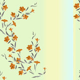 Watercolor seamless pattern orange flowers on a multicolor background Stock Images