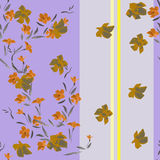 Watercolor seamless pattern orange flowers on a purple-gray background Royalty Free Stock Photo