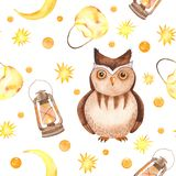 Watercolor seamless pattern with owl, background light, moon, stars. Texture for wallpaper, kindergarten, waldorf, holiday lantern vector illustration
