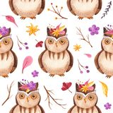 Watercolor seamless pattern with owl, branches, flowers, leaves. Texture for wallpaper, scrapbooking, children`s design, packaging royalty free illustration