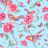 Watercolor seamless pattern with pair of birds anf camellia Stock Photography