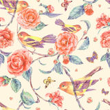 Watercolor seamless pattern with pair of birds anf camellia Royalty Free Stock Images