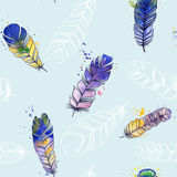 Watercolor seamless pattern. Pattern with  feathers.Illustration paints. Royalty Free Stock Image