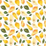 Watercolor seamless pattern pears, white background vector illustration