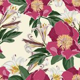 Watercolor seamless pattern with peonies flowers, lilies and leaves. royalty free illustration