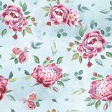 Watercolor seamless pattern of peony and blosom flowers on blue background stock illustration