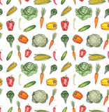 Watercolor Seamless Pattern with Pepper, Carrot and Cabbage vector illustration