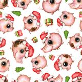 Watercolor seamless pattern with pigs, Christmas tree and presents royalty free illustration