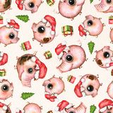Watercolor seamless pattern with pigs, Christmas tree and presents on paper background royalty free illustration