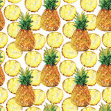 Watercolor seamless pattern with pineapples Royalty Free Stock Image