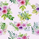 Watercolor bouquet of roses stock photos