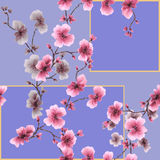 Watercolor seamless pattern pink blossoming plum branch on a purple background Stock Photo