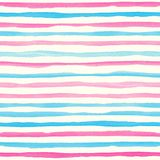 Watercolor seamless pattern with pink and blue horizontal stripes. Royalty Free Stock Photo