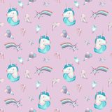 Watercolor seamless pattern with pink and blue unicorn, hearts and stars on pink background. stock illustration