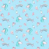 Watercolor seamless pattern with pink and blue unicorns, hearts and stars on sky blue background. royalty free illustration