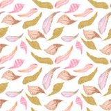 Watercolor seamless pattern of pink, brown, gold feathers. vector illustration