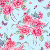 Watercolor seamless pattern with pink camellia Stock Images
