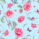 Watercolor seamless pattern with pink camellia Stock Photo