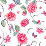 Watercolor seamless pattern with pink camellia Royalty Free Stock Photos