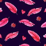 Watercolor seamless pattern with pink feathers vector illustration