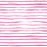 Watercolor seamless pattern with pink horizontal stripes. Royalty Free Stock Photography