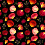 Watercolor seamless pattern of pink and red petals Royalty Free Stock Images