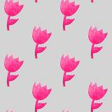 Watercolor seamless pattern with pink tulips Royalty Free Stock Photos