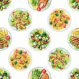 Watercolor seamless pattern with plates with food. Seamless pattern with salads, pasta and dishes with two options of steaks on white background. Watercolor hand Stock Photo