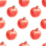 Watercolor seamless pattern with pomegranates. Stock Photos