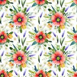 Watercolor seamless pattern with poppies. Floral background. Hand drawn summer flowers royalty free stock photography