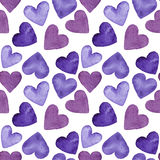 Watercolor seamless pattern of purple hearts, illustration on white background. Watercolor festive pattern of red, pink and purple hearts, seamless Royalty Free Stock Photography