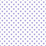 Watercolor seamless pattern of purple hearts, illustration on white background. stock images