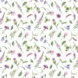 Watercolor seamless pattern with purple wild flowers. Texture for wallpaper, packaging, fabric, wedding design, prints, textiles, scrapbooking, birthday, cover royalty free illustration