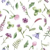 Watercolor seamless pattern with purple wild flowers. Texture for wallpaper, packaging, fabric, wedding design, prints, textiles, scrapbooking, birthday, cover vector illustration