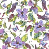 Watercolor seamless pattern with purple wildflowers, curls and b vector illustration