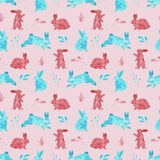 Watercolor seamless pattern of rabbits. Easter or kids background stock photos