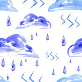 Watercolor seamless pattern with rain and lightning. Vector Royalty Free Illustration