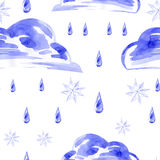 Watercolor seamless pattern with rain and snow. Vector Stock Photos