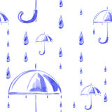 Watercolor seamless pattern with rain and umbrella. Vector Royalty Free Stock Photography