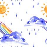 Watercolor seamless pattern with rainbow, sun and rain. Vector Vector Illustration