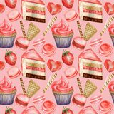 Watercolor Seamless pattern. Red Blue Sweet deserts with Cream and biscuit, waffle, cake, cupcake, berries. Hand drawn