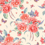 Watercolor seamless pattern with red camellia Stock Photo