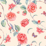 Watercolor seamless pattern with red camellia Royalty Free Stock Photos