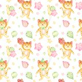 Watercolor seamless pattern with red cat and balls