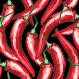 Watercolor seamless pattern of red chili peppers stock photography
